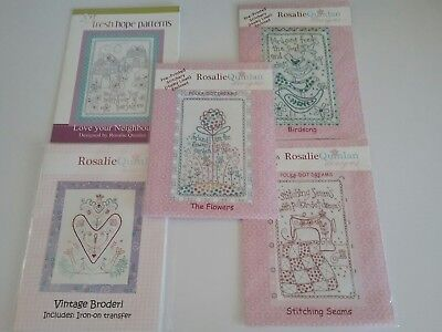 5 Rosalie Quinlan Stitchery Patterns Some With Pre Printed Fabric
