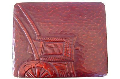Antique Japanese or Chinese Hand Carved Inkstone Set Red Lacquer Rickshaw Box