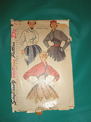 1951 Simplicity Sewing Pattern 3790 Misses Set of Bolero's and Jacket Size 12