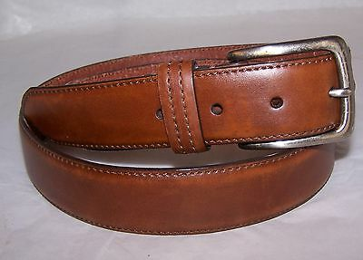 Men's Columbia Brown Leather Belt Silver Toned Buckle sz 40