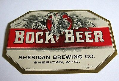 Pre-Prohibition Sheridan Bock Beer - Brewing Bottle Label Wy Wyoming Pre-Pro