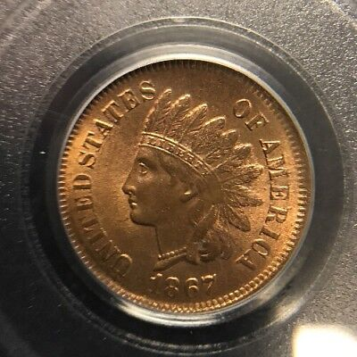 1867 1C PCGS MS64RB Indian Head Cent Certified Penny Looks Red