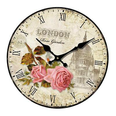 Vintage Wooden Wall Clock Shabby Chic Rustic Kitchen Home Art Decor Crafts