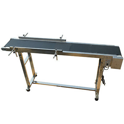 Stainless Steel Double Fence Conveyors 59''x 7.8'' Adjustable Speed Motor New