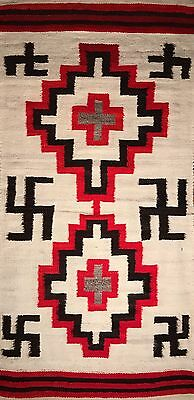 Pristine HISTORIC NAVAJO TRANSITIONAL WHIRLING LOGS DBL SADDLE BLANKET,NEAR MINT