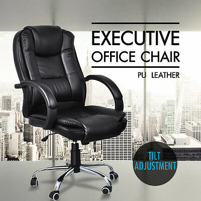 Black Office Chair PU Leather Swivel High Back Executive Computer Desk Task New