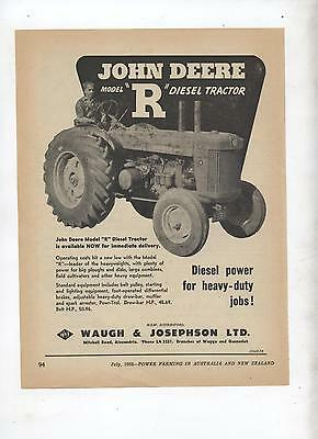 John Deere Model R Tractor Advertisement removed from 1952 Farming Magazine
