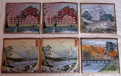 "Japanese 6 Vintage Silk Wall Tapestries Hang Frame Landscapes 11.5"" x 11"""