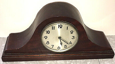 Mantel Clock Antique Mohagony Windup Solid-Burl Traditional Very-Old Restore!