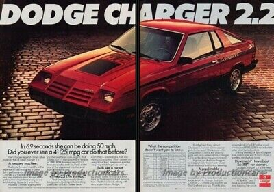 1981 1982 Dodge Charger 2.2 2-page Advertisement Print Art Car Ad J825