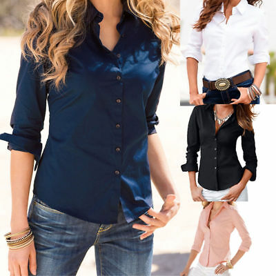 AU Turn Down Collar Women Long Sleeve Blouse Ladies Office Work Shirts Tops Hot
