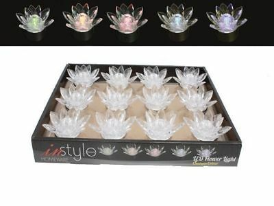 48 led flower tea light candle acrylic in display box battery bulk wholesale lot