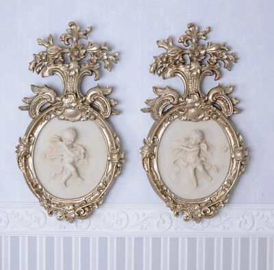 TWO ALABASTER Appliques Angel Figurines Silver Frame Wall Application Rococo