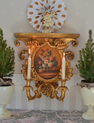 Wall Lights Baroque Candle Holder Console Style Painting