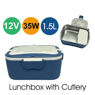 12V 35W Heated Lunchbox W/ Cutlery Food-Grade Stainless Steel Father's Day Gift