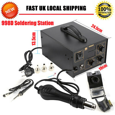2 in 1 Soldering Iron Station Hot Air Gun Rework LED 3 Nozzles 120L/Min 800W