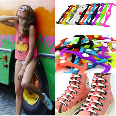 12Pcs Elastic Rubber Silicone Easy No Tie Shoelaces Shoe Laces For Adults Kids K