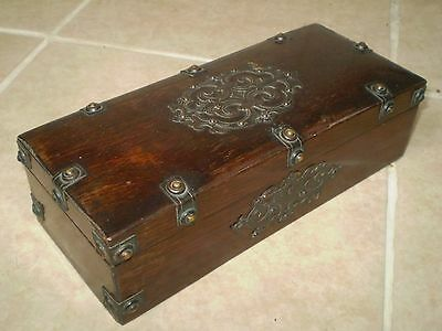 Antique Wooden Box, With Brass/metal Decoration, Ideal Jewellery Box