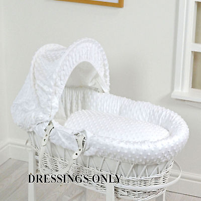 New 4Baby White Dimple Wicker Baby Moses Basket Dressings Extra Basket Cover