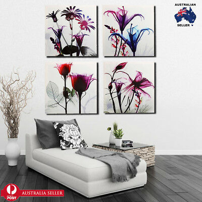 4 Panels Framed Canvas Picture Photo Print Multi Flowers Wall Art Home Decor AU