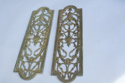 Victorian Edwardian Ornate Brass Pierced Door Finger Plates