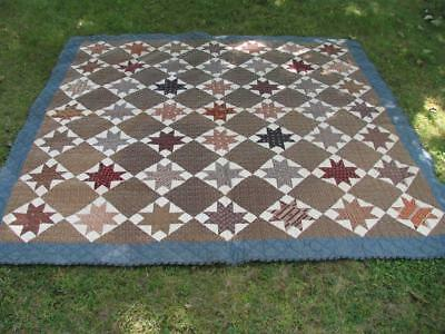 Antique Country Pieced Quilt Stars ca 1890