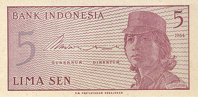 1964 5 Sen Indonesia Currency Gem Unc Banknote Note Money Bank Bill Cash Asia Cu