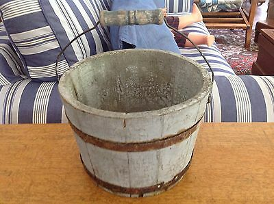 Antique Small Blue/gray Wooden Bucket Maple Syrup Farm