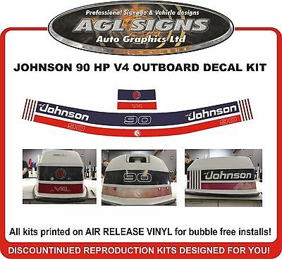 JOHNSON 90 HP V4  Outboard Decal Kit  Reproductions