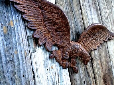 Large Solid New Iron Eagle Authentic Architectural Fence Gate Wall Plaque Crest