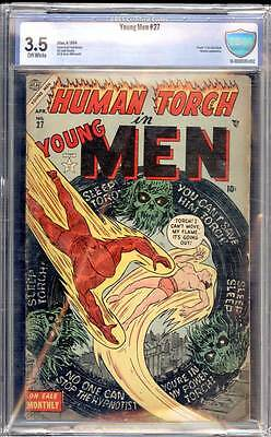 Young Men # 27  Human Torch !  Subby !  Cap America !   CBCS 3.5 scarce book !