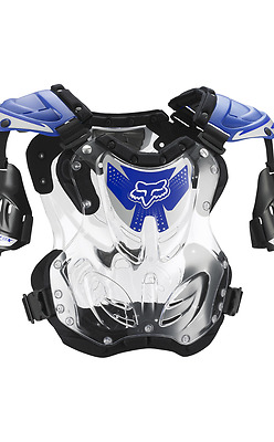 NEW Fox Racing R3 MX ATV Roost Deflector Blue Clear Chest Protector Youth Small