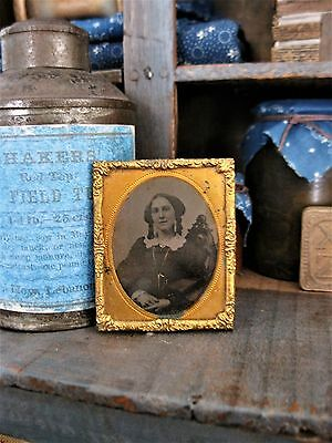 Mid-1800s Antique Tin Type Photograph with Foil Frame Woman with Ringlets