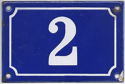 Old blue French house number 2 door gate plate plaque enamel steel metal sign