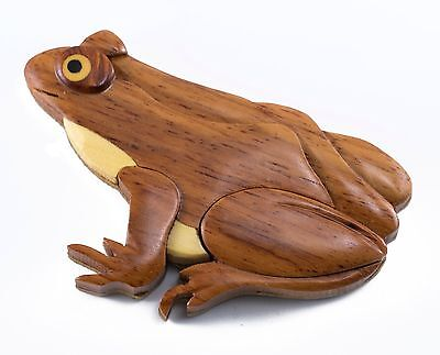 "Wood Intarsia Frog Magnet Handcrafted 2.75"" Long New!"