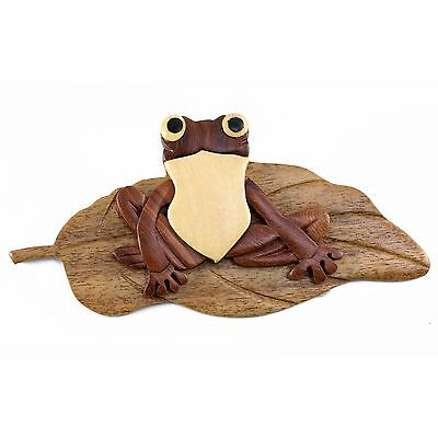 "Wood Intarsia Frog On Lily Pad Magnet Handcrafted 4.25"" Long New!"