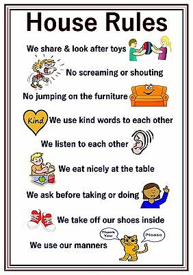 A4 Poster Sign House Rules Educational Nursery SEN Children Kids Childminders