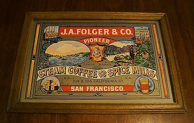 Rare J A Folger and Company Steam Coffee and Spice Mills Advertising Mirror Sign
