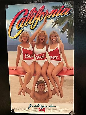 Lot of (2) Budweiser Beer Posters California Beach Blondes