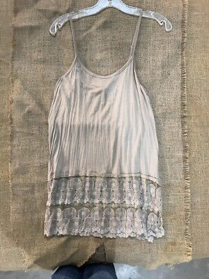 New Women's Marigold Nude Cami Tank W/ Lace At Bottom - Retail $79 - S