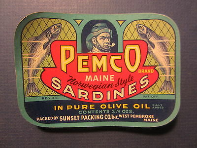 Wholesale Lot of 100 Old Vintage PEMCO Captain / Fish - SARDINES LABELS - MAINE