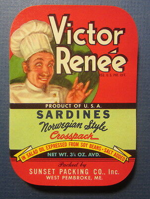 Wholesale Lot of 100 Old Vintage - VICTOR RENEE - Chef - SARDINES LABELS - MAINE