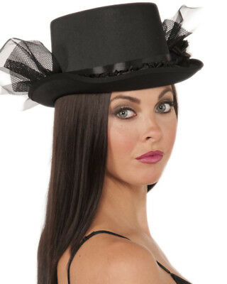 Deluxe Black Gothic Bride or Funeral Costume Top Hat With Ruffled Netting