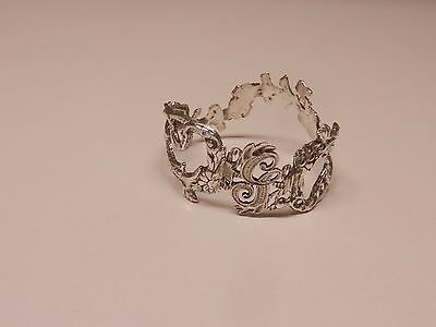 Napkin Ring with a ( Initial ( G )Rose Vine Design Sterling Silver