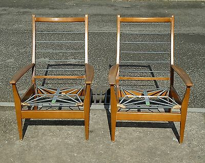 Pair Of Vintage Cintique Armchairs For Reupholstery     Delivery Available