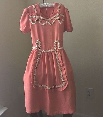 Vintage Crepe Dress for Little Girl 1930's Hand Made Peach/Melon White Trim