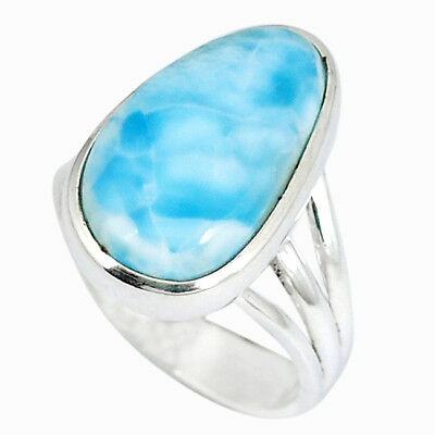 Natural Blue Larimar Fancy 925 Sterling Silver Ring Jewelry Size 7 K50572