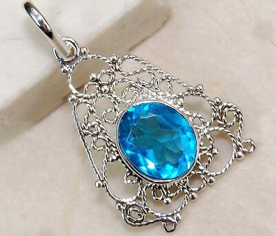 2CT London Blue Topaz 925 Solid Sterling Silver Filigree Pendant Jewelry, S7-6