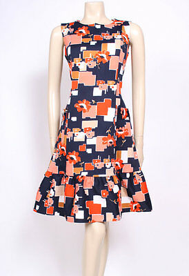 Original Vintage 1960's 60's Printed Navy Blue Mod Frill Pockets Dress! Uk 14