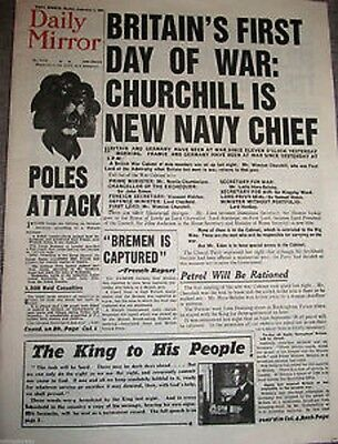 1939 Newspaper OUTBREAK of World War II Vintage Dunkirk I Daily Mirror History